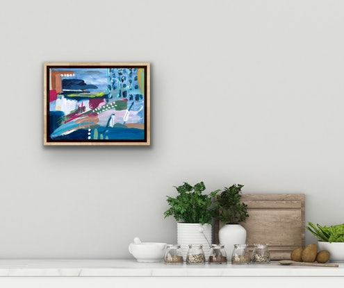 (CreativeWork) Sharks in the Pool by Jane Thompson. Acrylic Paint. Shop online at Bluethumb.