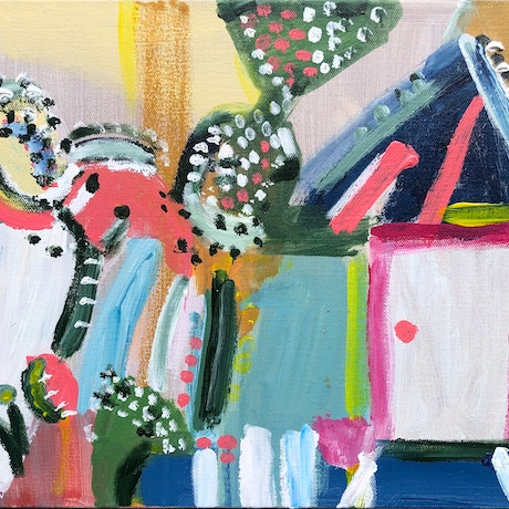 (CreativeWork) The Garden Shed by Jane Thompson. Acrylic Paint. Shop online at Bluethumb.