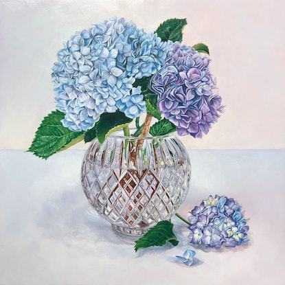 (CreativeWork) Hydrangeas in Crystal by Melissa Ritchie. Oil Paint. Shop online at Bluethumb.