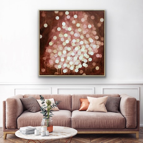 (CreativeWork) Aqueous Field Coral Bloom VII - Original Abstract Painting Framed by Jacquelyn Stephens. Acrylic Paint. Shop online at Bluethumb.