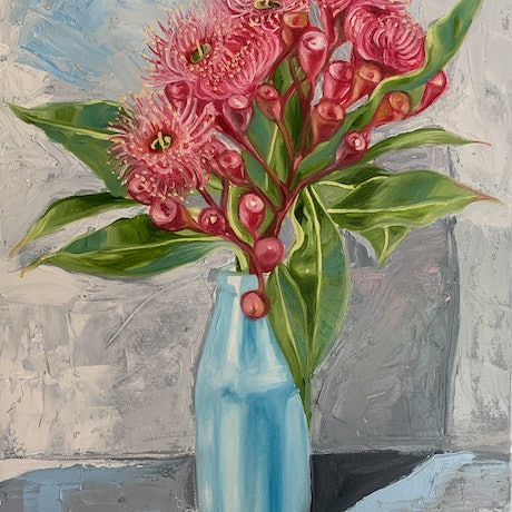 (CreativeWork) Study - Gum Blossom and the Blue Bottle by Alicia Cornwell. Oil Paint. Shop online at Bluethumb.