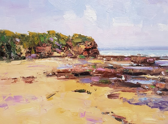 "(CreativeWork) ""Lowtide."" Sussex Inlet. NSW by Barry Back. Oil Paint. Shop online at Bluethumb."