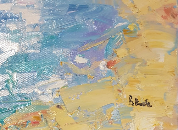 (CreativeWork) Lazy Hazy Days of Summer. Golden Beach. Caloundra.Qld. by Barry Back. Oil Paint. Shop online at Bluethumb.