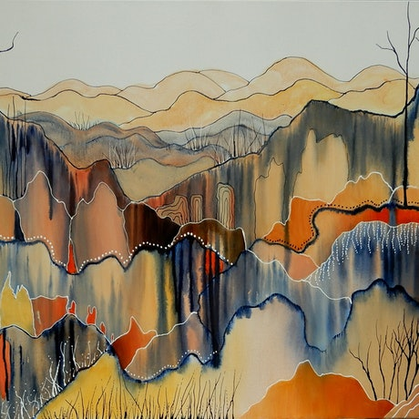 (CreativeWork) Mountain Country  by Doodie Herman. Acrylic Paint. Shop online at Bluethumb.
