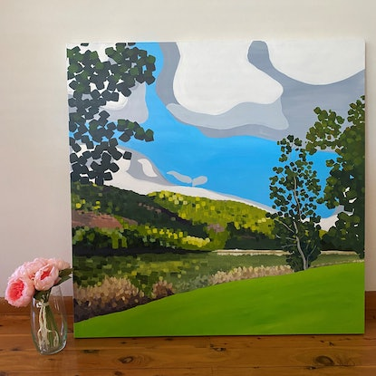(CreativeWork) Across the Hawkesbury River Original Painting  by Lisa Turner. Acrylic Paint. Shop online at Bluethumb.