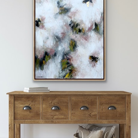 (CreativeWork) Peach Blossom Daiquiri, oak framed by Lisa Wisse-Robinson. Mixed Media. Shop online at Bluethumb.