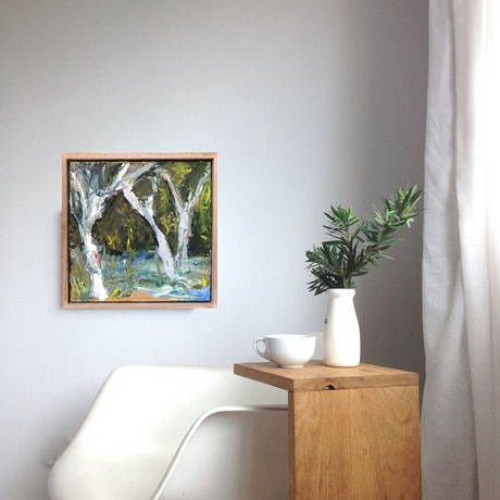 (CreativeWork) Ghost Gums On The Edge by Marnie McKnight. Oil Paint. Shop online at Bluethumb.