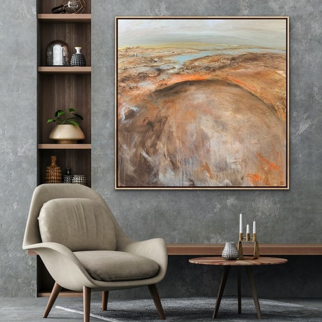 (CreativeWork) East Of Aireys Large Textured Abstract Landscape  by Tania Chanter. Acrylic Paint. Shop online at Bluethumb.