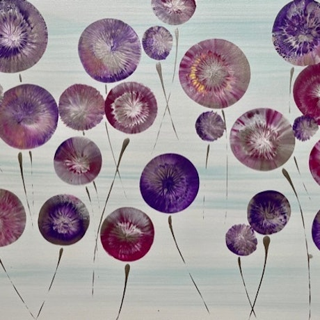 (CreativeWork) Springtime Flowers A Modern Abstract Artwork Painting on Canvas  by Debra Ryan. Mixed Media. Shop online at Bluethumb.