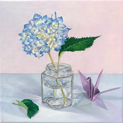 (CreativeWork) Hydrangea in a jar with a paper crane by Melissa Ritchie. Oil Paint. Shop online at Bluethumb.