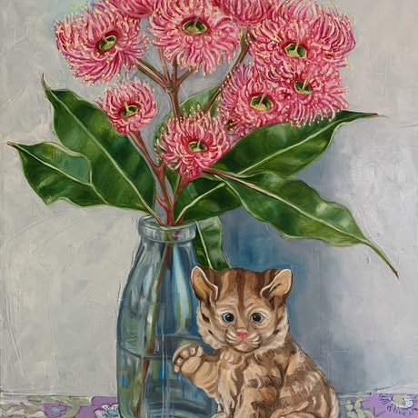 (CreativeWork) Gum blossom and the Lucky Kitten by Alicia Cornwell. Oil Paint. Shop online at Bluethumb.