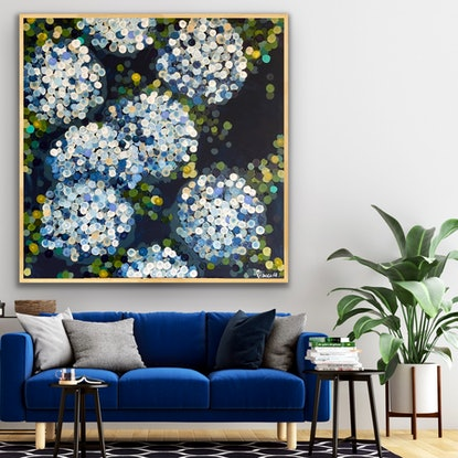 (CreativeWork) Blue night  hydrangea 2 102x103 framed large abstract  by Sophie Lawrence. Acrylic Paint. Shop online at Bluethumb.