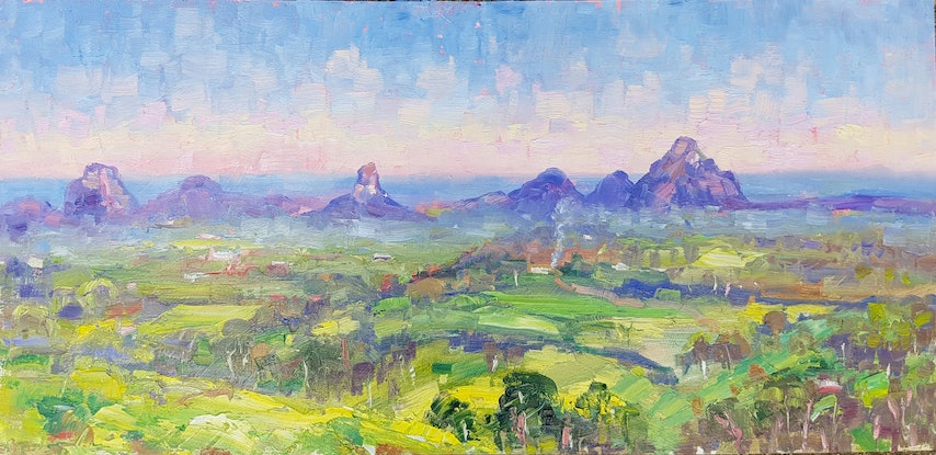 (CreativeWork) Sunrise over the Glasshouse Mtns. Maleny. Qld. by Barry Back. Oil Paint. Shop online at Bluethumb.