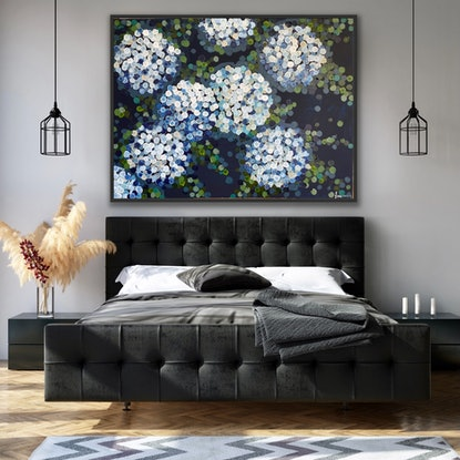 (CreativeWork) Blue night hydrangea 122x92 framed large textured abstract by Sophie Lawrence. Acrylic Paint. Shop online at Bluethumb.