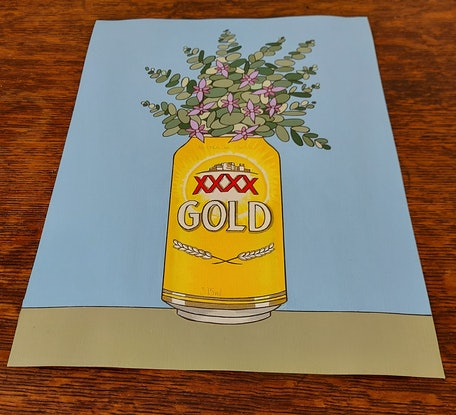 (CreativeWork) It's Gold,  He xxxx Loves Me! by Deb Rooney. Acrylic. Shop online at Bluethumb.