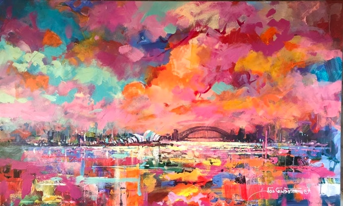 (CreativeWork) Sydney Harbour by Jos Coufreur. Acrylic Paint. Shop online at Bluethumb.