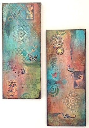(CreativeWork) Monsters & Butterflies I - set of 2 by Sharon Baker. Mixed Media. Shop online at Bluethumb.