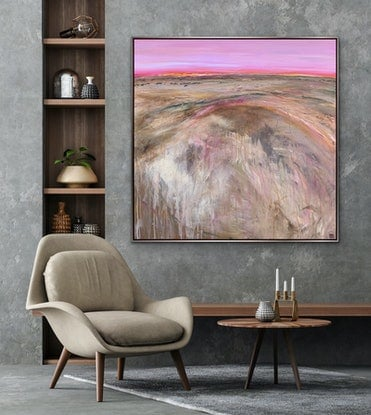 (CreativeWork) Sunset At Sunnymede Large Textured Abstract Landscape by Tania Chanter. Acrylic Paint. Shop online at Bluethumb.