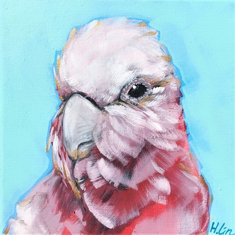 (CreativeWork) Family by Choice - Pink Galah   by HSIN LIN. Acrylic Paint. Shop online at Bluethumb.