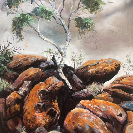 (CreativeWork) telegraph station rock by Mark Espie. Oil Paint. Shop online at Bluethumb.