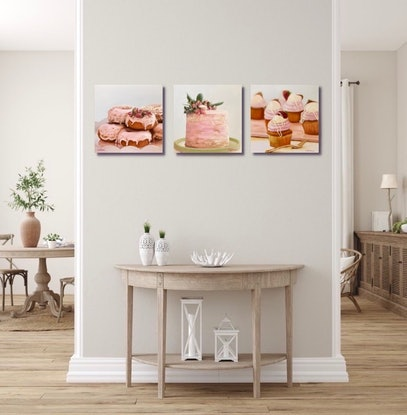 (CreativeWork) Pink Stack Cake by Catherine Wallace. Oil Paint. Shop online at Bluethumb.