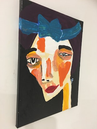 (CreativeWork) Scarlett Green should always be seen.  by Kate Rogers. Acrylic Paint. Shop online at Bluethumb.