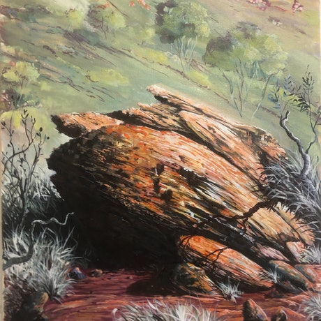 (CreativeWork) Bradshaw trail  rock , Alice Springs by Mark Espie. Oil Paint. Shop online at Bluethumb.