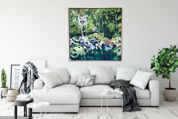(CreativeWork) Curtis Falls by Olivia Dilks. Acrylic Paint. Shop online at Bluethumb.