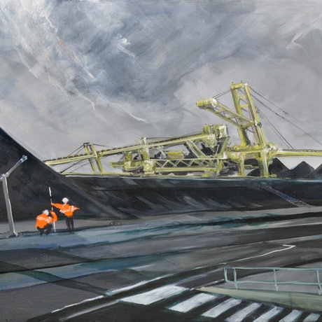 (CreativeWork) Newcastle Coal by Gavin Fry. Oil Paint. Shop online at Bluethumb.