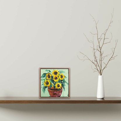 (CreativeWork) Sunflowers In A Pot by Angela Hawkey. Oil Paint. Shop online at Bluethumb.