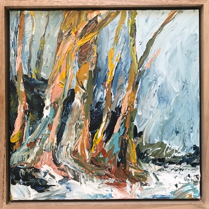 (CreativeWork) River Gums During Storm by Marnie McKnight. Acrylic Paint. Shop online at Bluethumb.