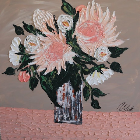 (CreativeWork) Soft pink proteas and white roses No. 5 by Kat Schmitt. Acrylic Paint. Shop online at Bluethumb.