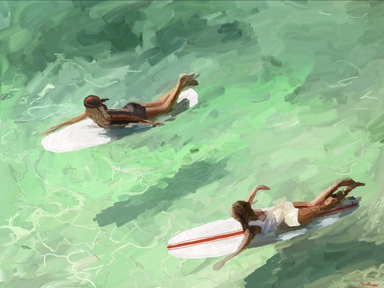 (CreativeWork) The Longboarders  Ed. 4 of 25 by Pip Phelps. Print. Shop online at Bluethumb.