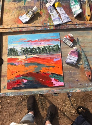 (CreativeWork) Summer on the Farm 25 by Hilly Coufreur. Oil Paint. Shop online at Bluethumb.