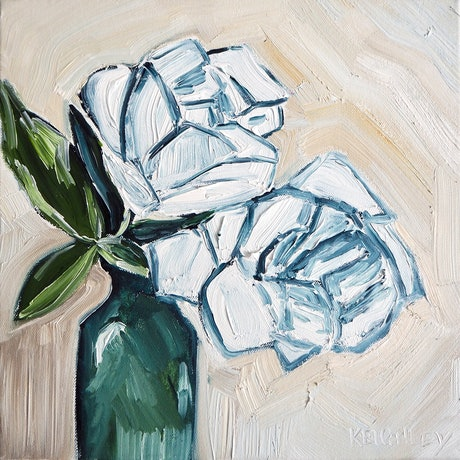 (CreativeWork) Two roses in a green bottle  by Michelle Keighley. Oil Paint. Shop online at Bluethumb.