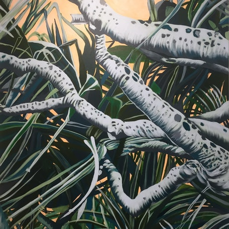 (CreativeWork) Pandanus Palms by Olivia Dilks. Acrylic Paint. Shop online at Bluethumb.