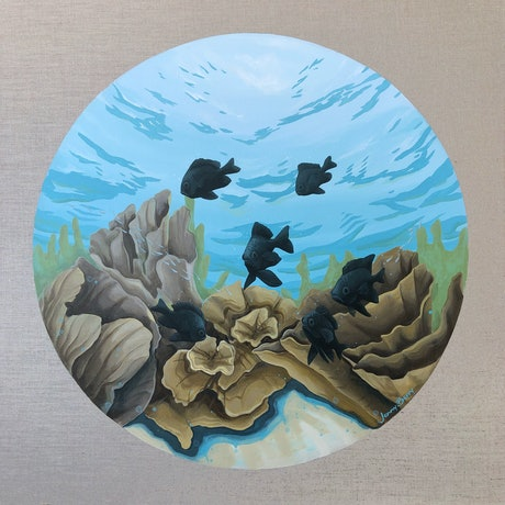 (CreativeWork) Clarity in the Sea - An Underwater Ocean Scene by Jenny Berry. Acrylic Paint. Shop online at Bluethumb.