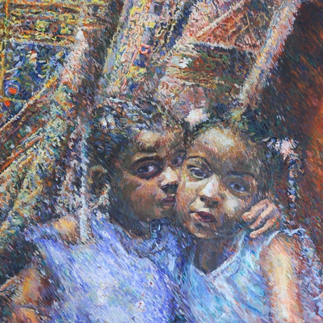 (CreativeWork) Two Sisters by Hany Houssien. Oil Paint. Shop online at Bluethumb.