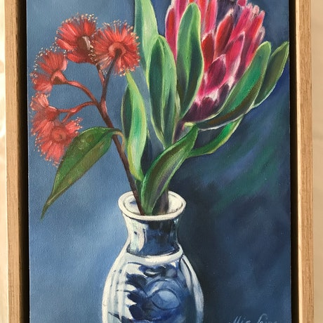 (CreativeWork) Blossom - Original framed oil painting, gum blossom.  by Mia Laing. Oil Paint. Shop online at Bluethumb.