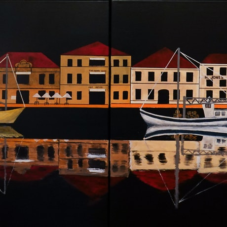 (CreativeWork) Victoria Dock Fishing Boats by Christopher Johnston. Acrylic Paint. Shop online at Bluethumb.