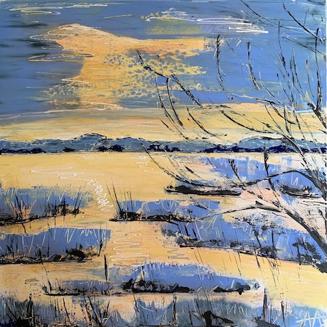 (CreativeWork) Swan Bay in winter by Anita Parker. Acrylic. Shop online at Bluethumb.