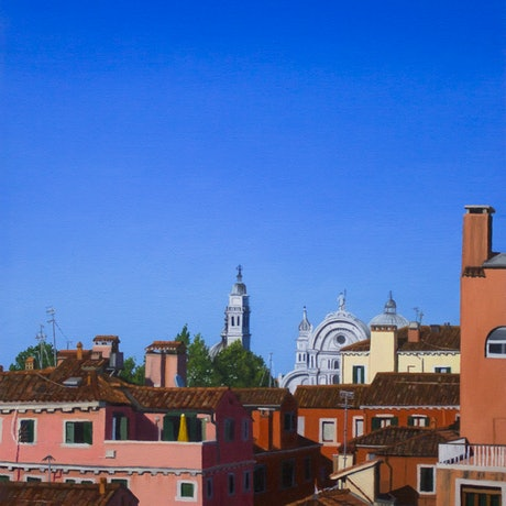 (CreativeWork) Venice Rooftops by Jay Lord. Oil. Shop online at Bluethumb.