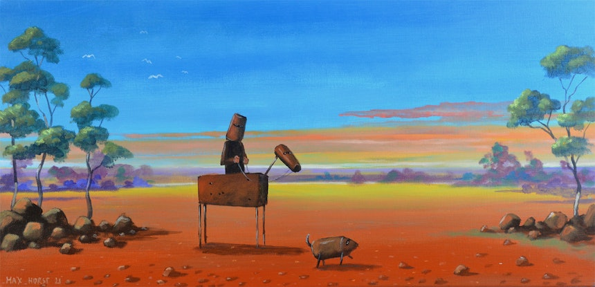 (CreativeWork) Landscape with Ned Kelly and his dog by Max Horst  Sokolowski. Acrylic Paint. Shop online at Bluethumb.