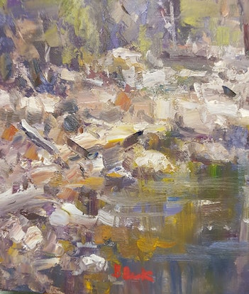 (CreativeWork) Cows on the Creek. Kenilworth. Qld. by Barry Back. Oil Paint. Shop online at Bluethumb.