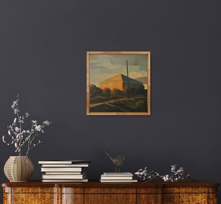 (CreativeWork) Coastal Cottage by David Green. Oil Paint. Shop online at Bluethumb.