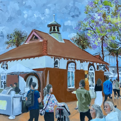 (CreativeWork) Oyster Bar, Circular Quay by Geoff Hargraves. Oil Paint. Shop online at Bluethumb.