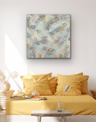 (CreativeWork) Bio-Cluster Bloom III – Original Abstract Art by Jacquelyn Stephens. Acrylic Paint. Shop online at Bluethumb.