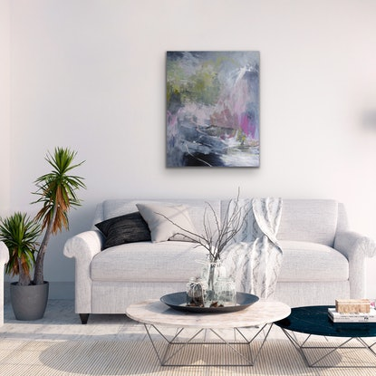 (CreativeWork) Lily Pond by Christine Scurr. Acrylic Paint. Shop online at Bluethumb.