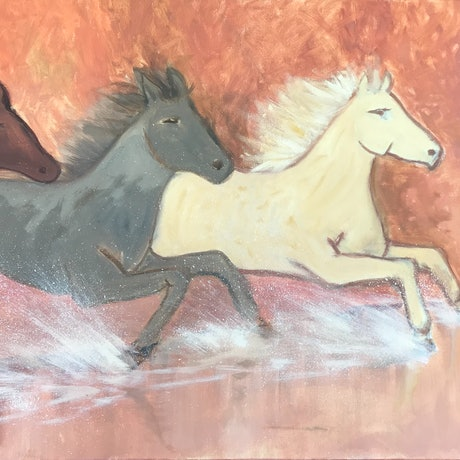 (CreativeWork) Wild Horses by Belinda Hackney. Acrylic Paint. Shop online at Bluethumb.