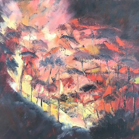 (CreativeWork) Roaring Firelight by Belinda Hackney. Oil Paint. Shop online at Bluethumb.
